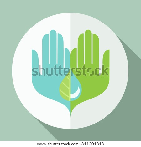 Modern simple Symmetrical flat design conceptual illustration natural logo two hands holding a half water drop and a half leaf symbol - stock vector