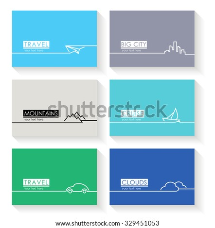 Modern simple vector cards with line symbols - stock vector