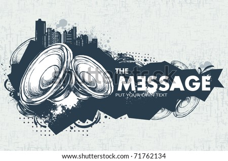 Modern sketchy style banner with speakers. Layered. Vector EPS 10 illustration. - stock vector