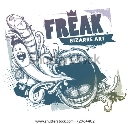 Modern sketchy style image of mouth and freaks. Vector EPS 10 illustration. - stock vector