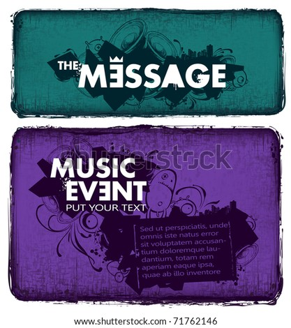 Modern sketchy style musical poster with bizarre elements. Layered. Vector EPS 10 illustration. - stock vector