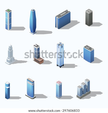 Modern skyscraper isometric building set vector graphic illustration - stock vector