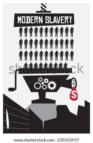 Modern slavery and poverty poster concept with copy space - stock vector