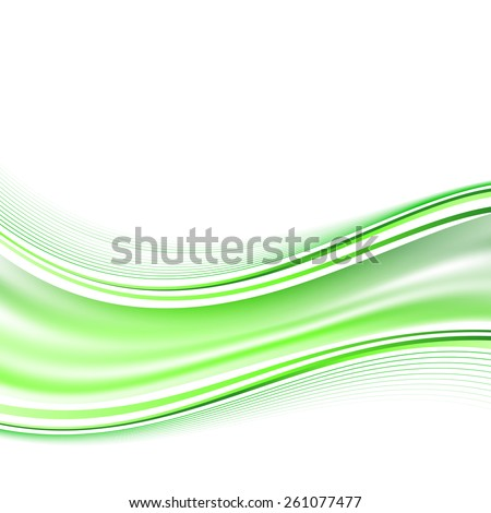 Modern smooth green airy fresh swoosh wave background line. Vector illustration - stock vector