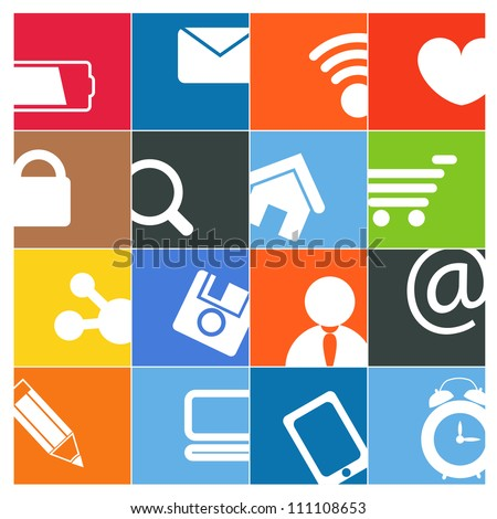 Modern social media color buttons interface - stock vector
