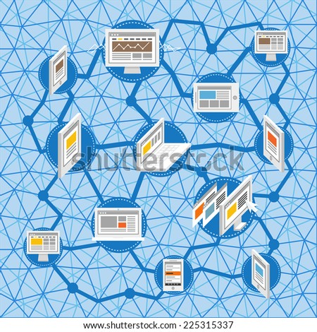 Modern social media network concept - stock vector
