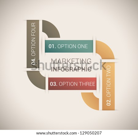 Modern soft color Design template / for infographics / numbered banners / horizontal cutout lines / graphic or website layout vector - stock vector