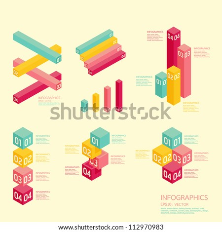 Modern soft color graph Design   / can be used for infographics / numbered banners /  graphic or website layout vector - stock vector