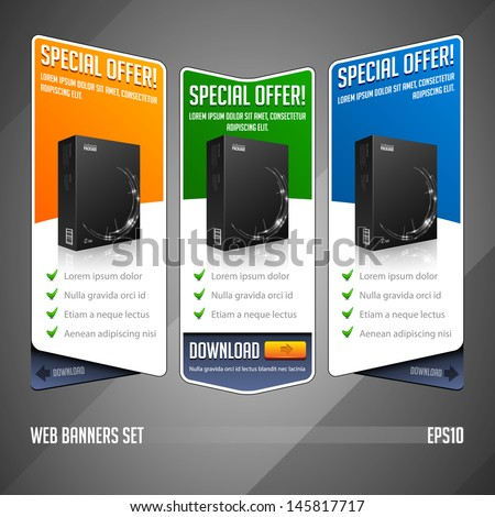 Modern Special Offer Web Banner Set Vector Colored: Yellow, Orange, Green, Blue. Website Showing Product Box, Purchase Download Button. - stock vector