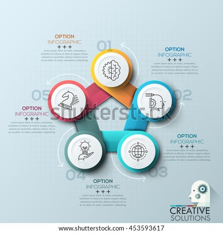 Modern spiral infographics options banner for 5 steps. Vector illustration. can be used for workflow layout, diagram, number options, web design. - stock vector