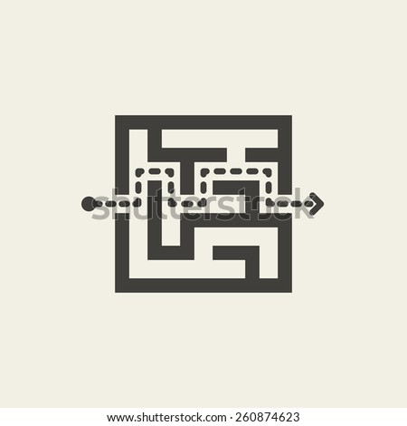 modern square maze isolated on beige background - stock vector