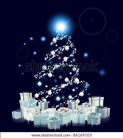 Modern style Christmas tree design. Blue and silver Christmas tree with baubles and gifts. - stock vector