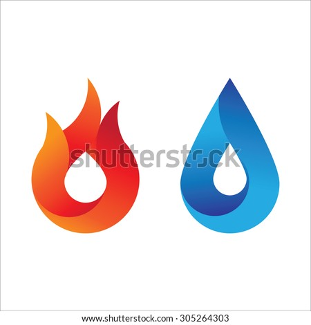 Modern style fire and water logo with gradient effect. Abstract symbol of the two main counter element. - stock vector