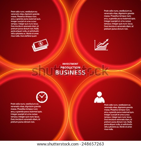 Modern style infographics design elements with loop lines circle on red background. Abstract shape. Vector illustration eps 10. Can use for business brochure template, banking service, investment firm - stock vector