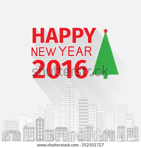 Modern style red gray color scheme new year greetings card on light-gray background with gray elements, houses, apartments and city landscape. Flat design element. Bright mood. 2016 new year greetings - stock vector