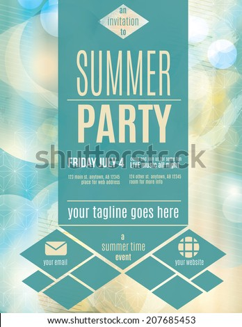 Modern style summer party flyer template - stock vector