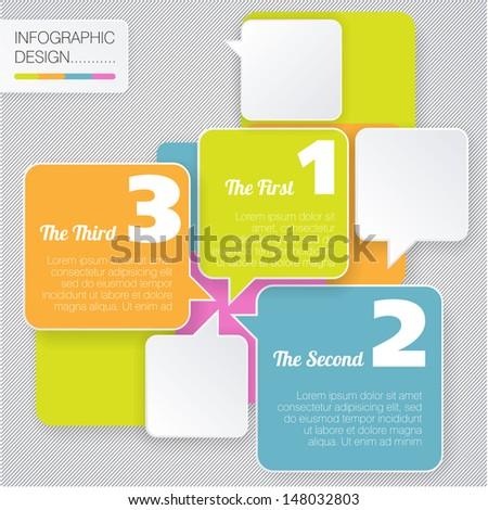 Modern  style vector bubble speech minimal flat infographic template. - stock vector