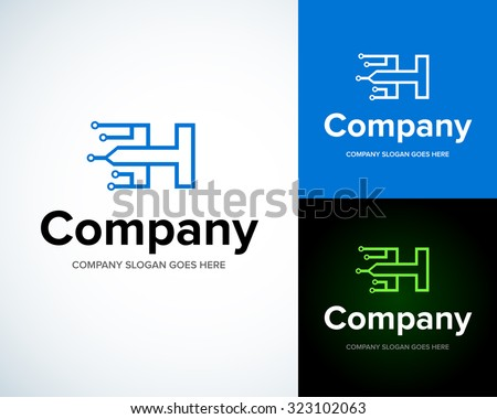 Modern stylish logo with letter H. Business Technology vector logotype design template.  Creative concept icon. Corporate company identity. - stock vector