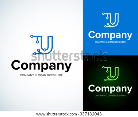 Modern stylish logo with letter U. Business Technology vector logotype design template. Creative concept icon. Corporate company identity. - stock vector