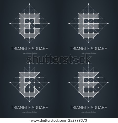 Modern stylish low poly logo with letter E. Set of Low-poly Design elements with squares, triangles and rhombus. Vector Lowpoly corporate logotype template. - stock vector