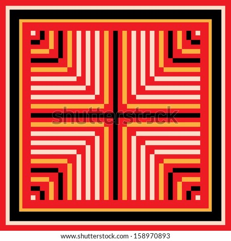 modern stylish seamless pattern in red, white, yellow and black colours. geometric vector illustration background.  - stock vector