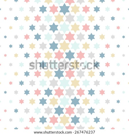 Modern stylish texture of the stars. Seamless pattern. Repeating geometric tiles. Colored ornament. - stock vector