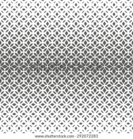 Modern stylish texture with flowers. Vector seamless pattern. Repeating geometric tiles. Gray and white texture. - stock vector
