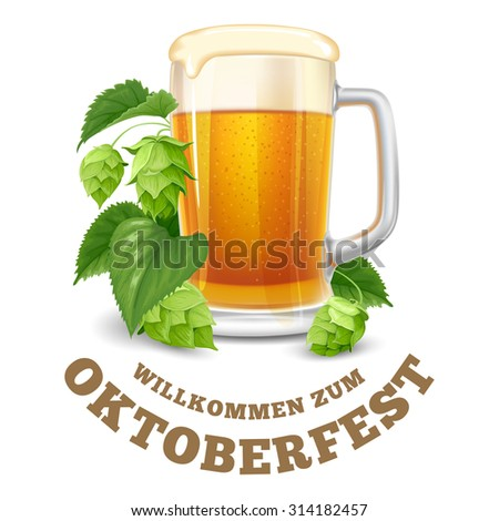 Modern stylized emblem with glasses of beer with text Beer festival Oktoberfest. Isolated on white background. Vector illustration. - stock vector