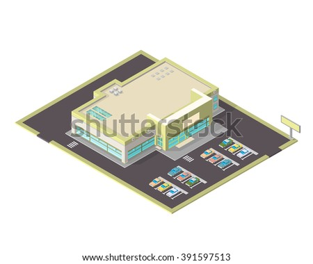 Modern supermarket or shopping center with parking spaces. Isometric vector icon of s large isometric grocery store. - stock vector