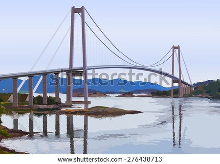 Modern suspension bridge over big river. - stock vector