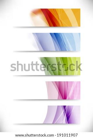 Modern swoosh wave bright cards set. Vector illustration - stock vector