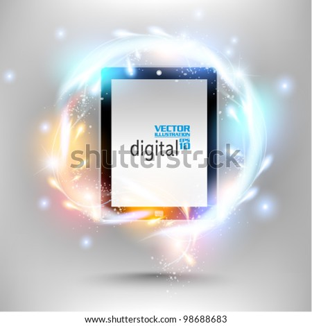 modern tablet with digital flare design - stock vector
