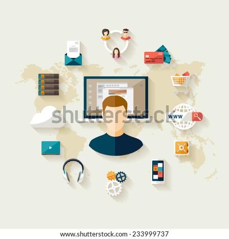 Modern technology concept. Flat design. - stock vector