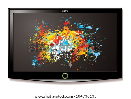 Modern Television screen with bright colour splat element - stock vector