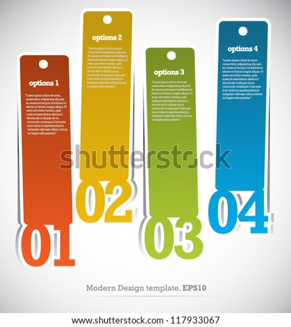 Modern Template Design Colorful Style Number Options Banner & Card. Vector illustration - stock vector