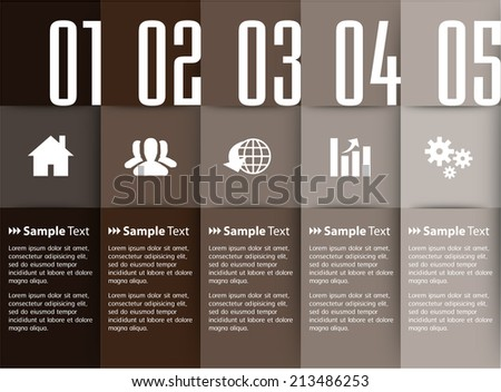 modern text box template for website and graphic, numbers.  - stock vector