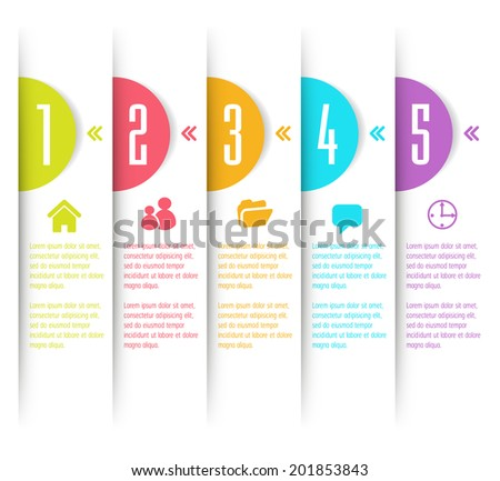 Modern text box template. Number. Icon. - stock vector