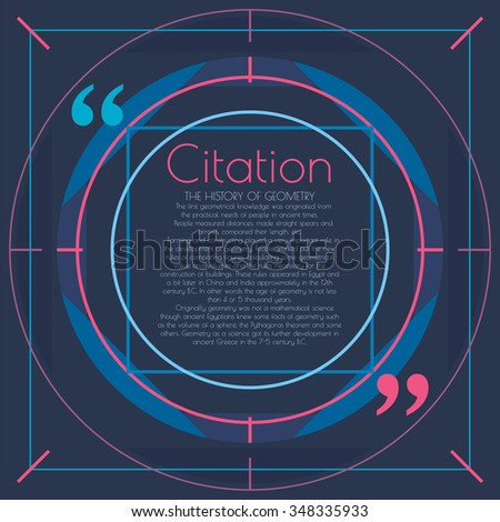 Modern text bubble in a linear style.Text, link, comment.Design element with a text bubble. Information design for web, print.Linear style background. The text in quotes. Circles lines design element. - stock vector