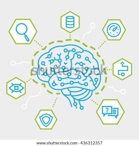 Modern Thin Line Concept of Artificial Intelligence, Communication, Functions and Electronic Mindmap. Simple vector linear flat style infographics - stock vector