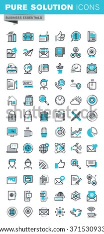 Modern thin line flat design icons set of business communication and technology, office items, internet advertising and security, basic company information. Outline icon collection for web graphic. - stock vector