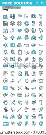 Modern thin line flat design icons set of medical supplies, healthcare diagnosis and treatment, laboratory tests, dental services, equipment and products. Outline icon collection for web graphic. - stock vector