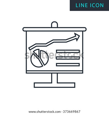 Modern thin line icon of analysis board. Premium quality outline symbol. Simple mono linear pictogram, drawing, art, sign. Stroke vector logo concept for web graphics.  - stock vector