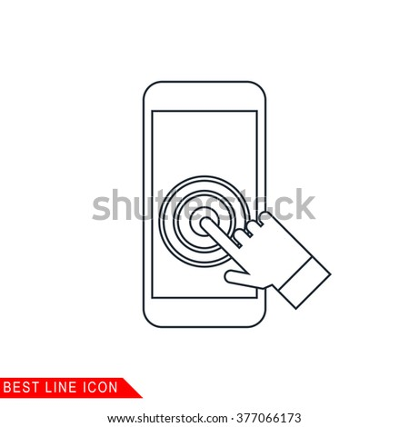 Modern thin line icon of Touch screen smartphone. Premium quality outline symbol. Simple mono linear pictogram, drawing, art, sign. Stroke vector logo concept for web graphics.  - stock vector