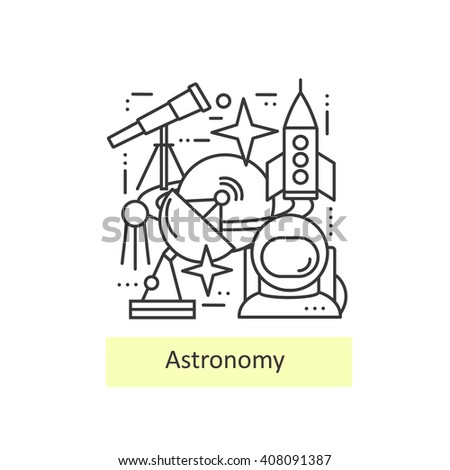 Modern thin line icons of astronomy. Set astronomical symbols planet, stars, asteroid, observatory, astronaut,  telescope and rocket. Modern concept of a collection of vectors.  - stock vector