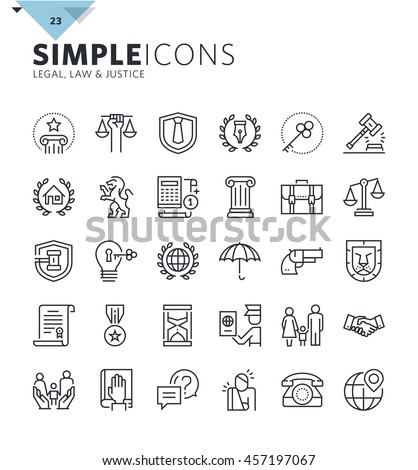 Modern thin line icons of law and lawyer services. Premium quality outline symbol collection for web design, mobile app, graphic design. Mono linear pictograms, infographics and web elements pack. - stock vector