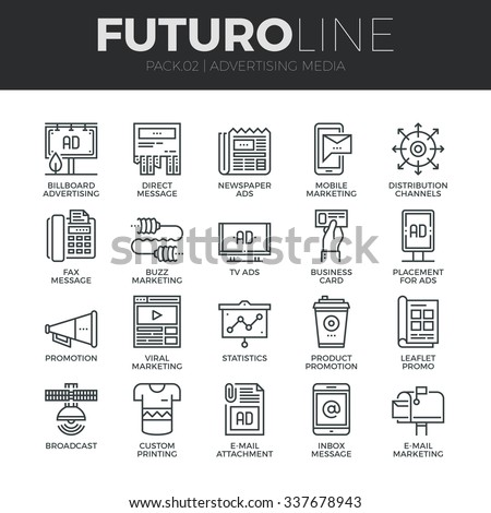 Modern thin line icons set of advertising media channels and ads distribution. Premium quality outline symbol collection. Simple mono linear pictogram pack. Stroke vector logo concept for web graphics - stock vector