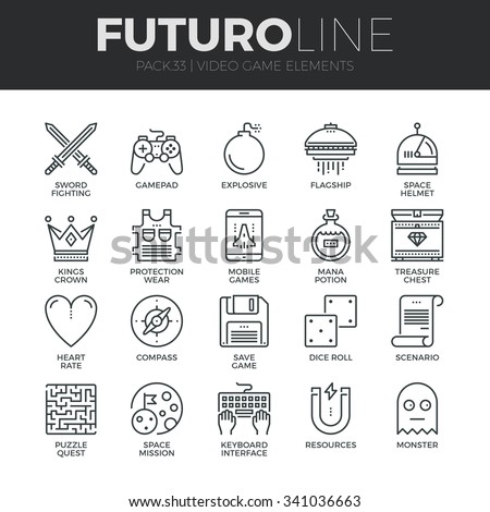 Modern thin line icons set of classic game objects, mobile gaming elements. Premium quality outline symbol collection. Simple mono linear pictogram pack. Stroke vector logo concept for web graphics. - stock vector
