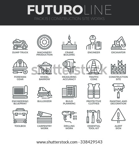Modern thin line icons set of construction works on site and building tools. Premium quality outline symbol collection. Simple mono linear pictogram pack. Stroke vector logo concept for web graphics. - stock vector