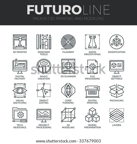 Modern thin line icons set of 3D printing, 3D modeling and scanning technology. Premium quality outline symbol collection. Simple mono linear pictogram pack. Stroke vector logo concept for web graphic - stock vector