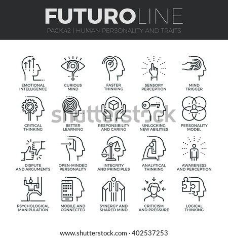 Modern thin line icons set of human personality, thinking traits, mind abilities Premium quality outline symbol collection Simple mono linear pictogram pack Stroke vector logo concept for web graphics - stock vector